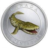 Prehistoric Creatures: Tiktaalik – 2014 – Canada – 25 Cents – nickel coin (glow in the dark)