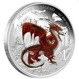 Dragons of Legend: Red Welsh Dragon – Tuvalu – 2012 – 1 Dollar – coloured silver coin