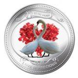 Love is Precious: White Swans – Niue – 2010 (2014) – 2 Dollars – coloured silver coin