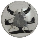 Heavily armed warrior of Kyrgyz Kaganat – 10 Som – Kyrgyzstan – silver coin with oxidation