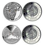 Bison & Bisons – Belarus – 2012 – set of 2 silver coins with Swarovsky crystals in box